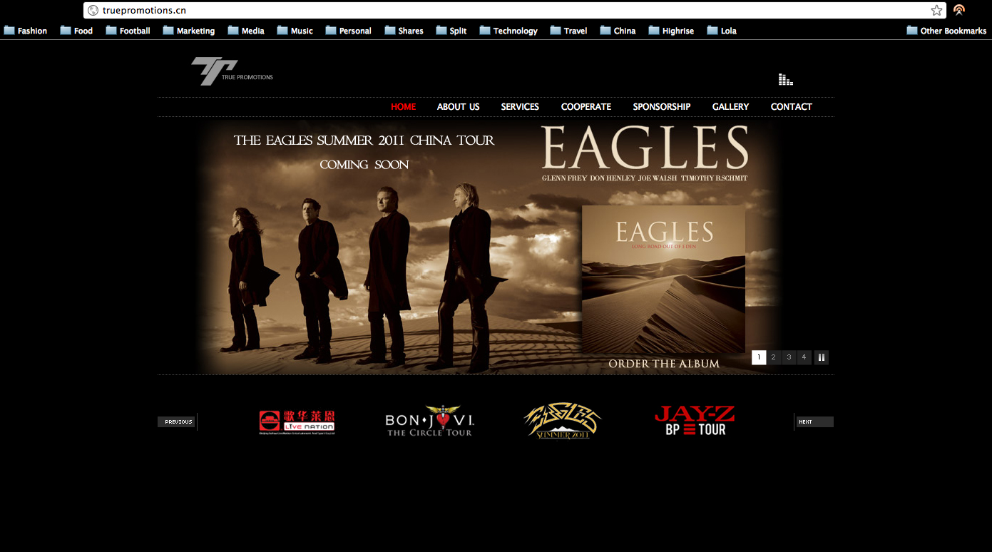 PR company claims the Eagles tour in China